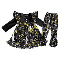 New arrival star and words printing children clothing cotton baby girl clothes fall boutique outfit