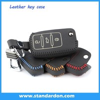 Leather Key fob Holder Case Chain Cover FIT For VW Passat Touran Tiguan