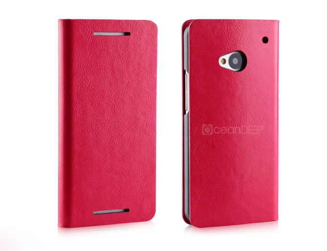 Hot selling mobile phone case leather flip cover for htc one