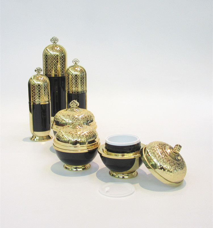 new imperial crown type lefery cosmetics cream containers,gold cosmetic jar 50 ml,30ml plastic gold bottle