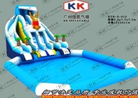Cartoon Bear Inflatable Slip Water slide Summer Promotions Inflatable With Pool