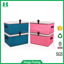 spots stripe and wave pattern canvas clothing fabric folding storage box.