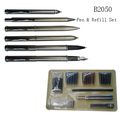 2017 China Stainless Steel 6Pcs Pen And 72Pcs Refills Gift Set For Promotion