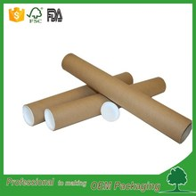 simple design kraft round box paper tube for fabric rolling plastic lid and bottom shipping paper tube shenzhen factory