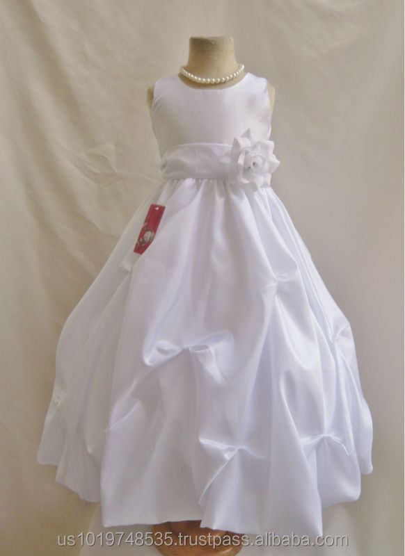 Popular Beautiful Elegant Hot Sale Taffeta White Pick up dress design pageant flower girl bridesmaid dress