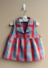 New model girl plus size dress with grid children dress