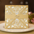 High Quality Royal Beige Gold Laser Wedding Card With Belly Band