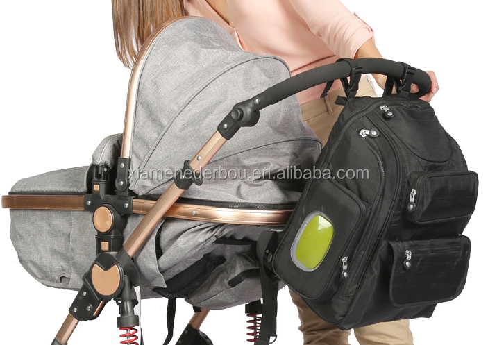 Diaper backpack with Stroller Straps, Changing Pad and Sundry Bag - Black