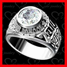 round cubic zircon stainless steel class ring