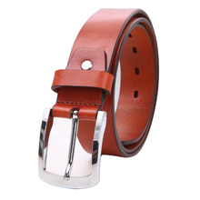 Hot Sale Fashion Cowhide Genuine Leather brown Belt for Men Good quality with automatic alloy buckle