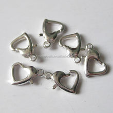10.3x7mm Silver Plated Brass base Heart Lobster Clasps