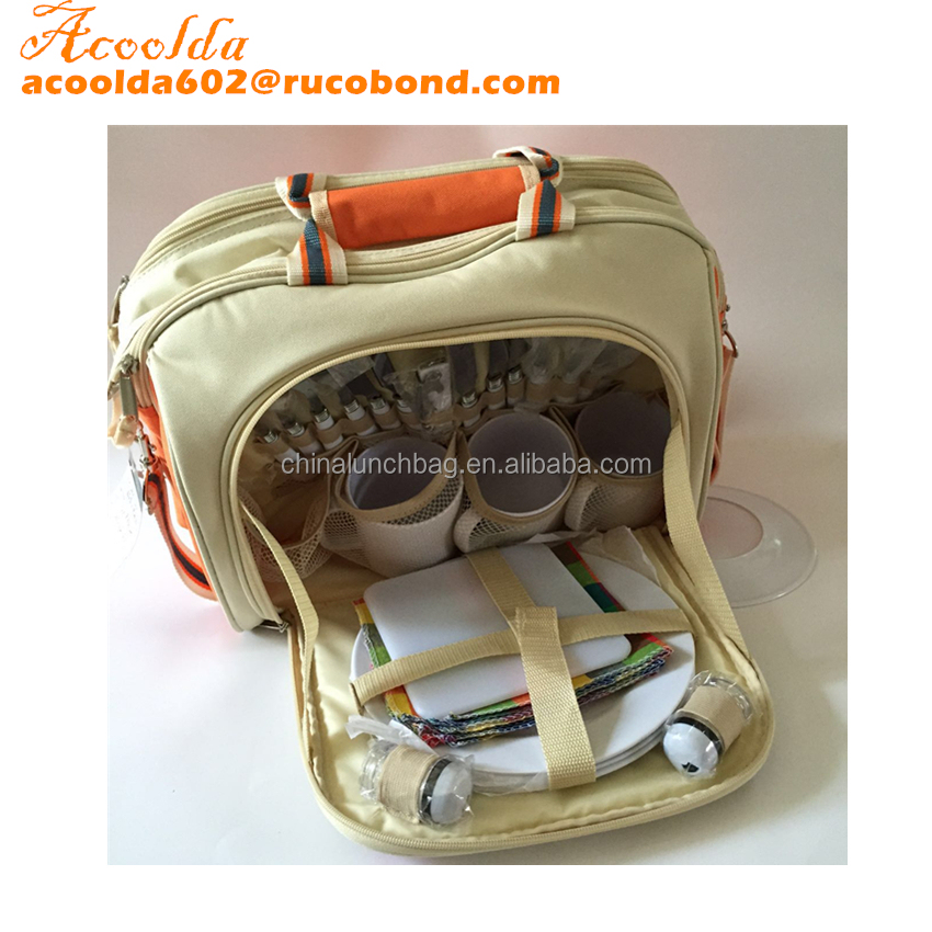 2015 NEW DESIGN with cutlery set 2 persons picnic cooler bag