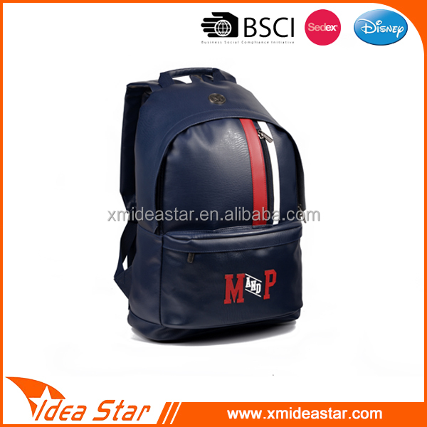 Custom stylish man pu leather backpack softback trendy college bags