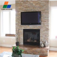 Faux stone panels slate cultured stone fireplace surround