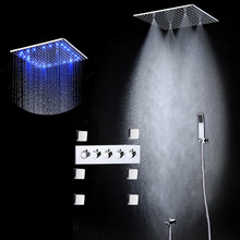 Rain And Mist LED Ceiling Shower Fauct Tap 20 Inch Tempetatures Change Bathroom Shower Kit With 6 Pcs Body Jets And Mixer Shower