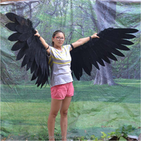 Large black feather angel wings for cosplay stage show