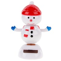 Solar Powered Bobble Head Dancing Toy Car Decoration Ornament Merry Chrismas Lovely Snow Man