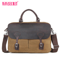 Men business handbag extra large waterproof waxed canvas cotton genuine leather messenger bag