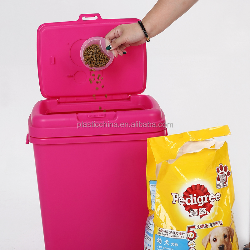 H513 40liter Airtight sealing food storage box red plastic pet food container