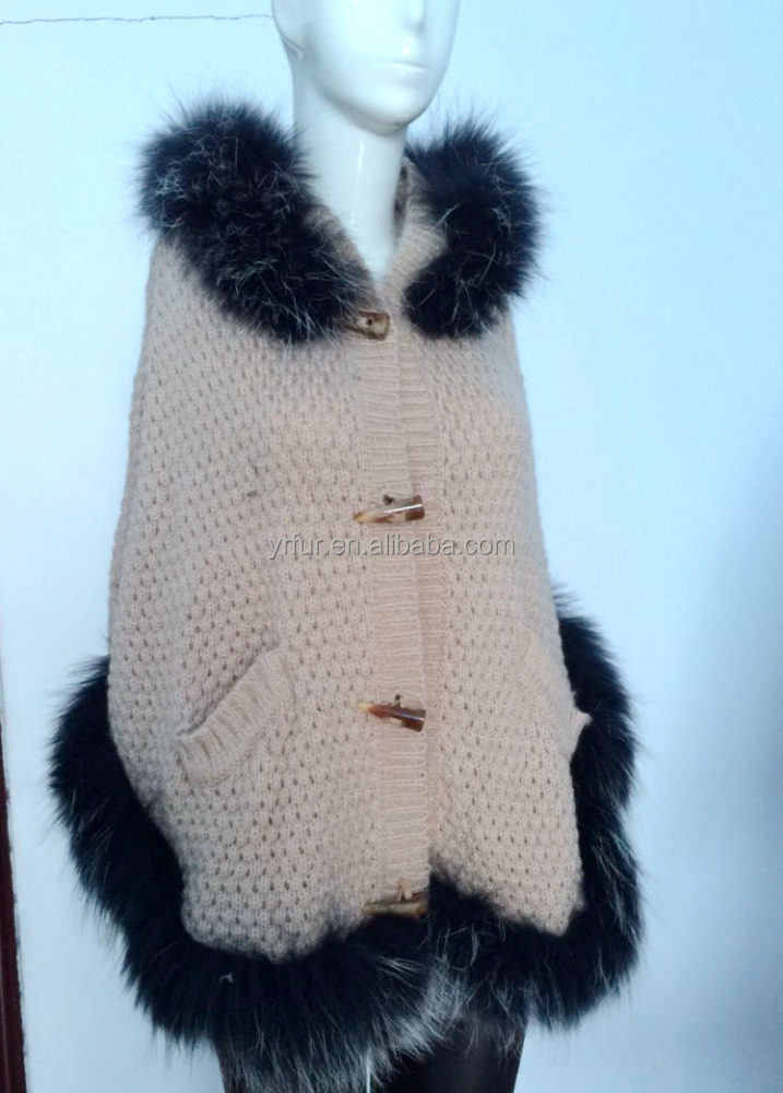 YR663 Ladies Hooded Yarn and Raccoon fur Poncho