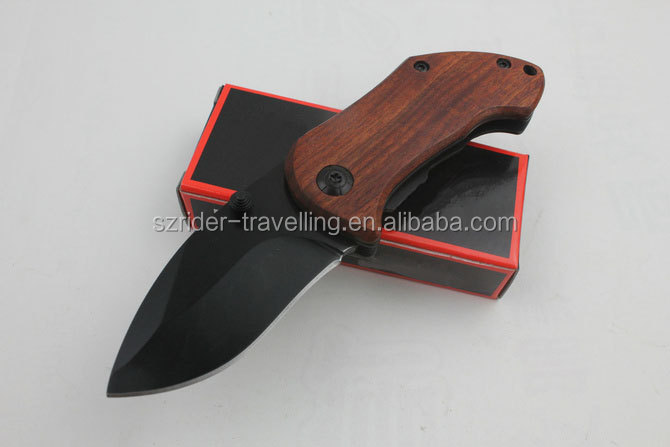 OEM Liner lock stainless steel red wood handle camping knife small folding pocket knife