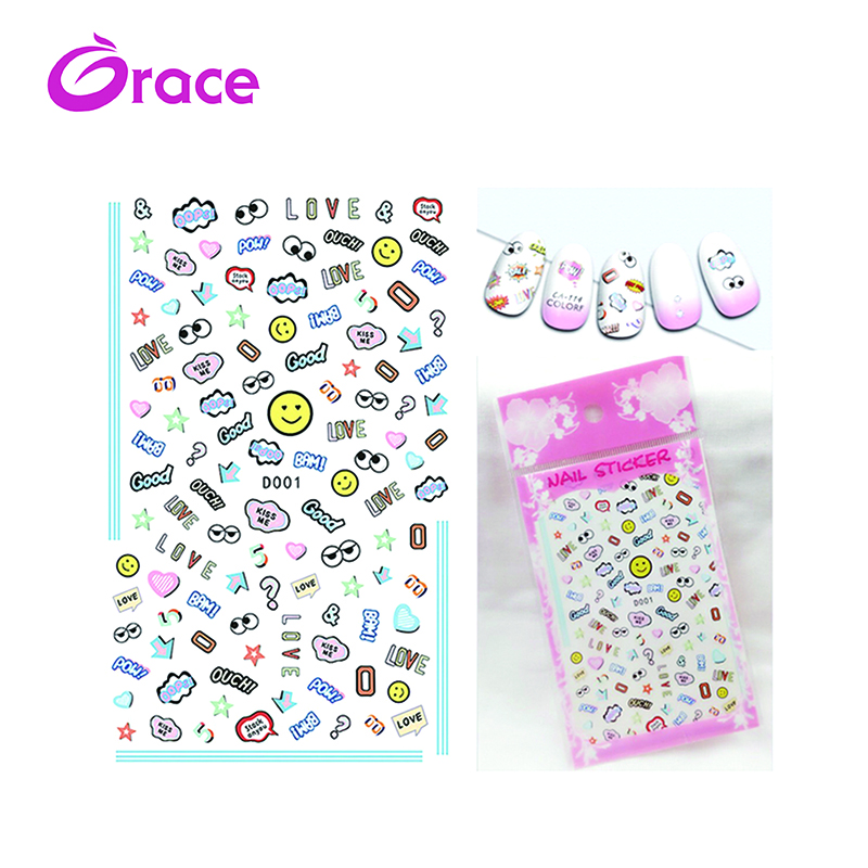 D001-010 Japan and Korea new cartoon nail stickers Japanese nail decals children manicure stickers