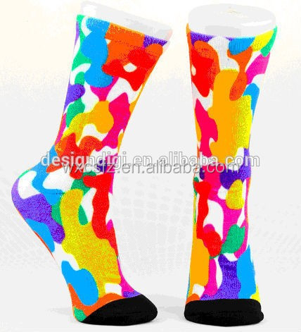 360 degree seamless printing multicolored high-elastic polyester socks