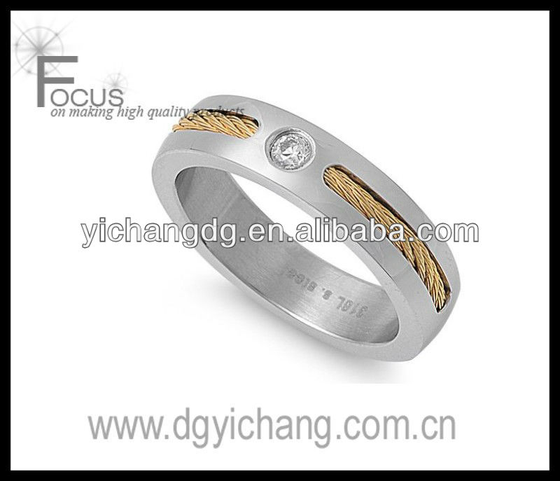 Polished Stainless Steel Ring with Gold Cable and Clear CZ