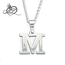 Stainless Steel Silver Alphabet Letter M CZ White Diamond Initial Charm Pendant