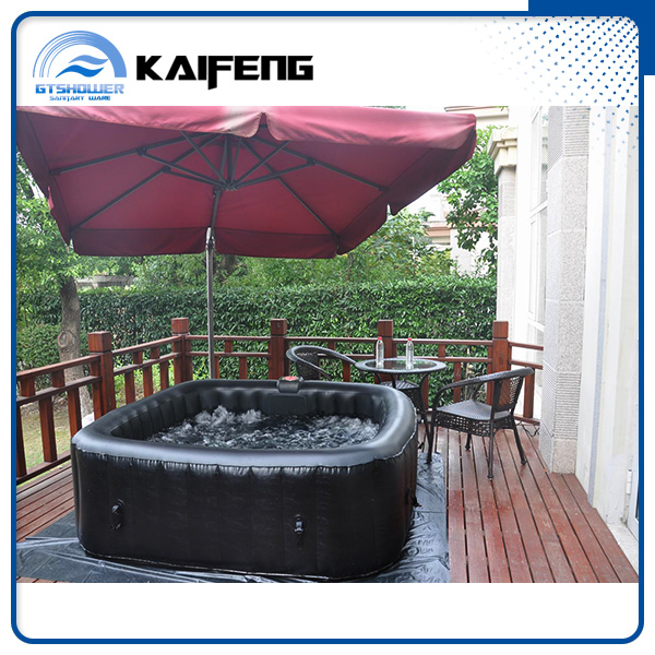 4 Person Black Outdoor Inflatable Pool Spa