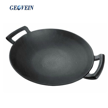 High Quality Chinese double handle seasoned cast iron wok