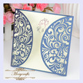 MR081 Elegant Two Sides Square Card Hollow- out Carved Pattern Customizable Paper Crafts Wedding Laser Cut Invitation Card