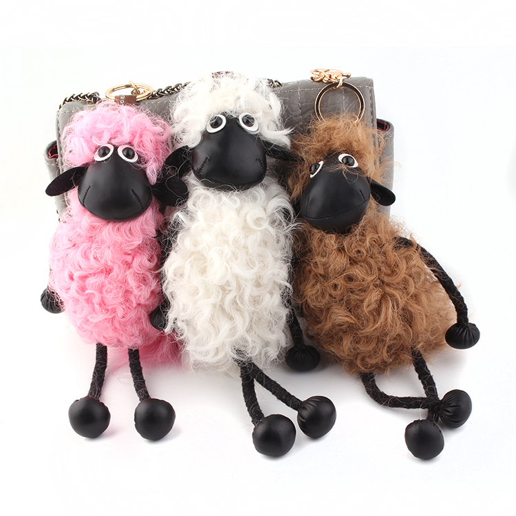 Sheep Key chain pom pom real lambs wool fur ball keychain wool sheep woollen Pendant natural fur women's bags hangings