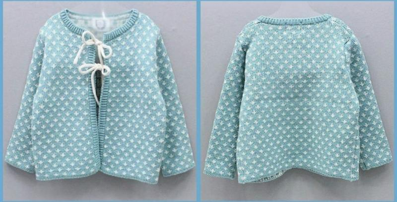 Fashion Baby Girls Sky Blue Cardigan Jumper Sweater
