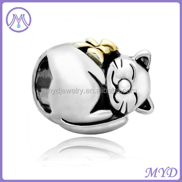 Fortune Cat metal beads for European charms bracelet from shenzhen