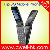 New product single sim card 3G WCDMA feature flip phone dual screen mobile phone