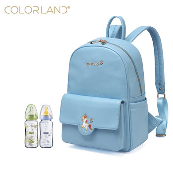 New Eudora Unicorn Embroidery Baby Diaper Bag Girls Backpack (Blue)