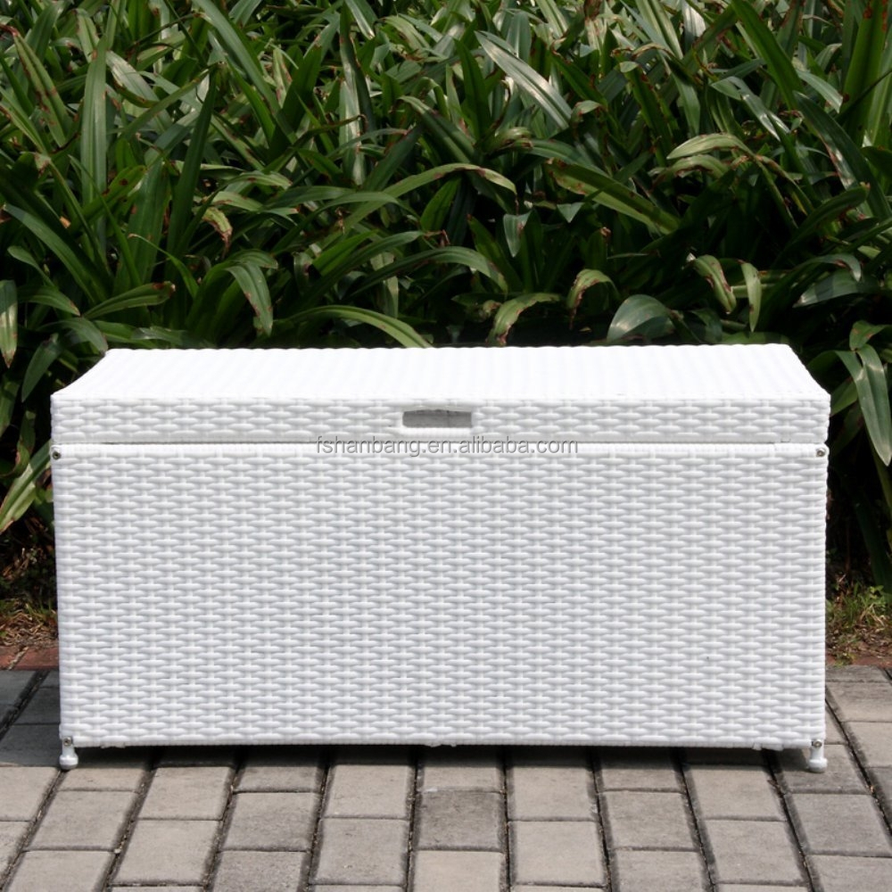 Plastic rattan waterproof outdoor garden cushion storage box