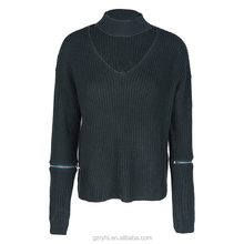 High quality women long sleeve v-neck sleeve zipper cable knit sweater