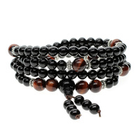Red Tiger eye and Onyx 6mm Bead Mala Prayer Bracelet