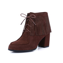 Factory Handmade Italian Sexy Tassel Ankle Booties Lace-up Leather Boots