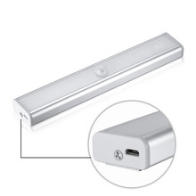 Mini Built-in Polymer Battery Rechargeable Motion Sensor LED Night Light with 3M Adhesive, Magnetic Strip for Under Cab