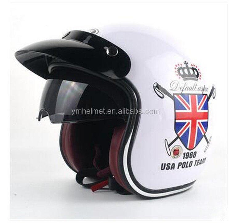 Helmet motorcycle dot approved retro harley 3/4 open face jet helmet from casco para moto factory