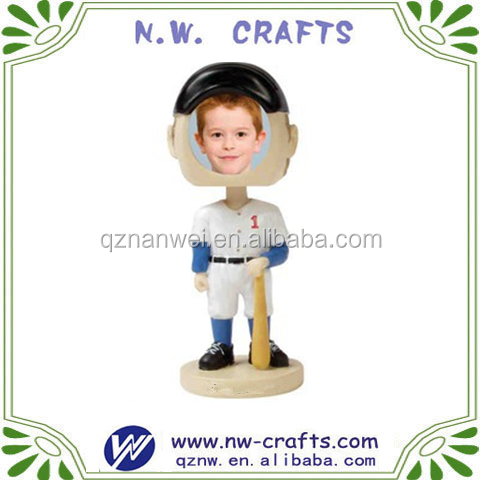 Baseball star player picture bobble head frame resin crafts