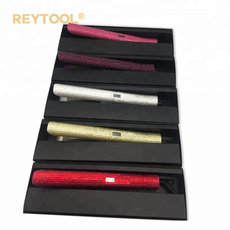 Wholesale cheap titanium custom LOGO private bling label flat iron with crystal rhinestone