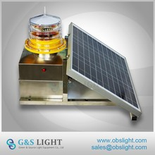 LED Solar powered flashing aircraft obstacle beacon for tower warning