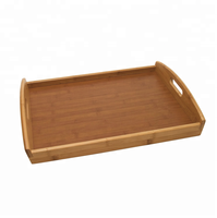 Handmade Bamboo Breakfast Bed Serving Tray with Double Handles Party Service Platter