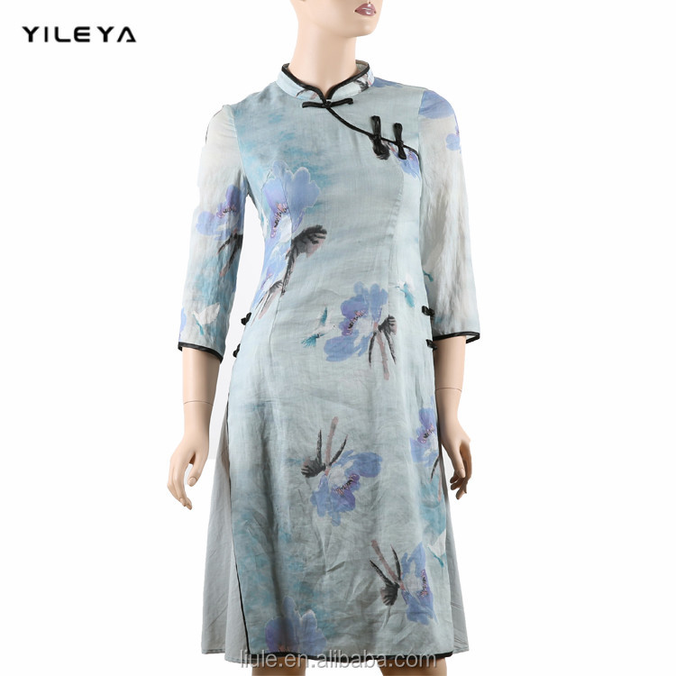 2016 latest YILEYA half sleeve retro style women traditional design of dress