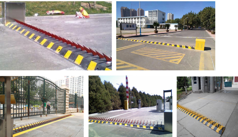 A3 Steel Material Spiked Road Barrier Customized Length With 80T Max Loading Weight