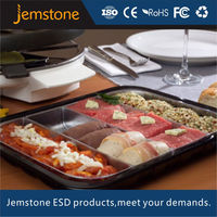 Blister plastic food tray with 4 compartments